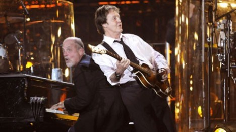 Paul McCartney and Billy Joel onstage at Shea Stadium